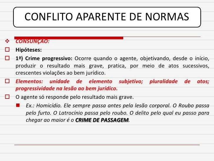 CONFLITO APARENTE DE NORMAS  CONSUNÇÃO:  Hipóteses:  1ª) Crime progressivo: Ocorre quando o agente, objetivando, desde ...