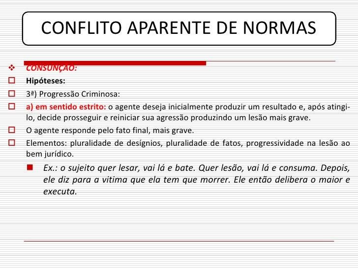 CONFLITO APARENTE DE NORMAS    CONSUNÇÃO:    Hipóteses:    3ª) Progressão Criminosa:    a) em sentido estrito: o agent...