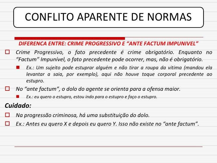 "CONFLITO APARENTE DE NORMAS     DIFERENCA ENTRE: CRIME PROGRESSIVO E ""ANTE FACTUM IMPUNIVEL""  Crime Progressivo, o fato p..."