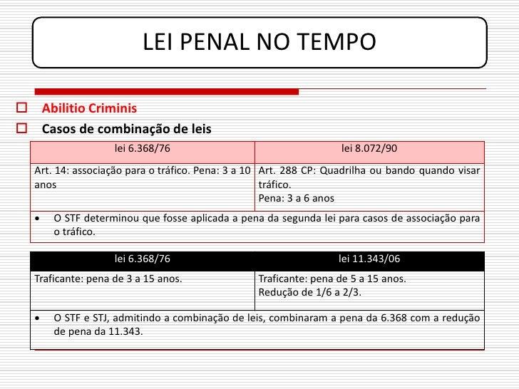 LEI PENAL NO TEMPO   Abilitio Criminis  Casos de combinação de leis                    lei 6.368/76                     ...