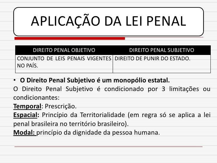 APLICAÇÃO DA LEI PENAL       DIREITO PENAL OBJETIVO            DIREITO PENAL SUBJETIVO  CONJUNTO DE LEIS PENAIS VIGENTES D...