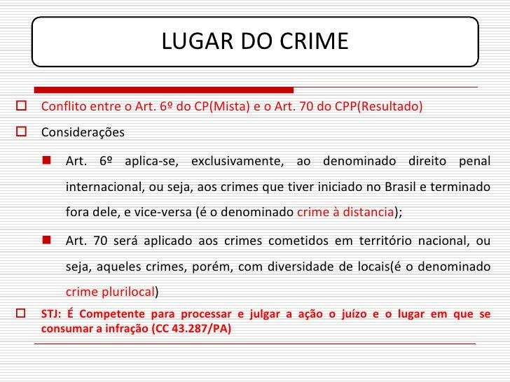 LUGAR DO CRIME   Conflito entre o Art. 6º do CP(Mista) e o Art. 70 do CPP(Resultado)  Considerações       Art. 6º aplic...