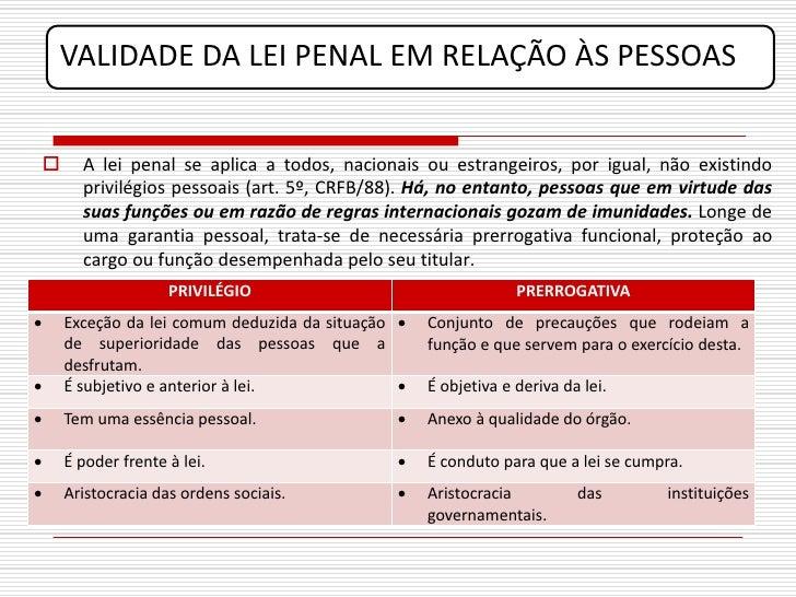 VALIDADE DA LEI PENAL EM RELAÇÃO ÀS PESSOAS            A lei penal se aplica a todos, nacionais ou estrangeiros, por igua...