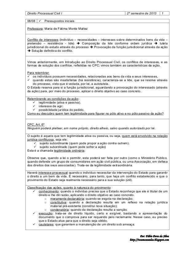 Direito Processual Civil I 08/08    2º semestre de 2013  1  Pressupostos iniciais  Professora: Maria de Fátima Monte Malt...