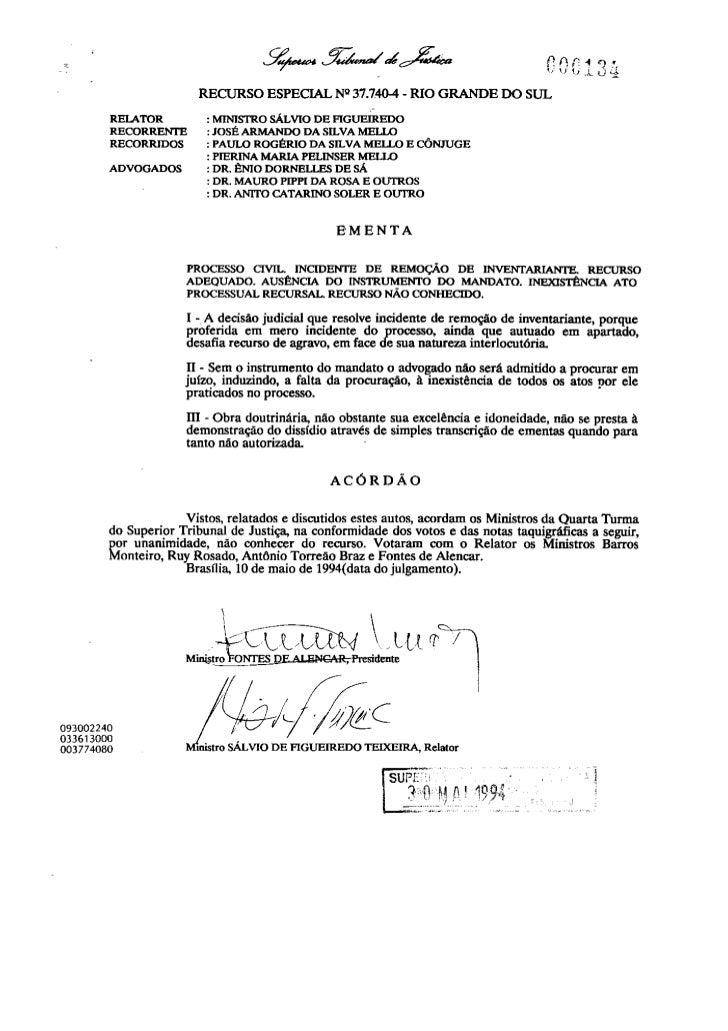 Direito Sao Bernardo   InventáRio   Julgado Stj   090828   Julgado 13