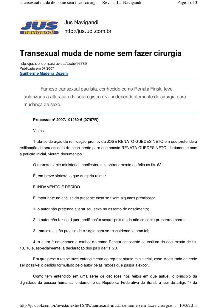 Transexual muda de nome sem fazer cirurgia - Revista Jus Navigandi                         Page 1 of 3                    ...