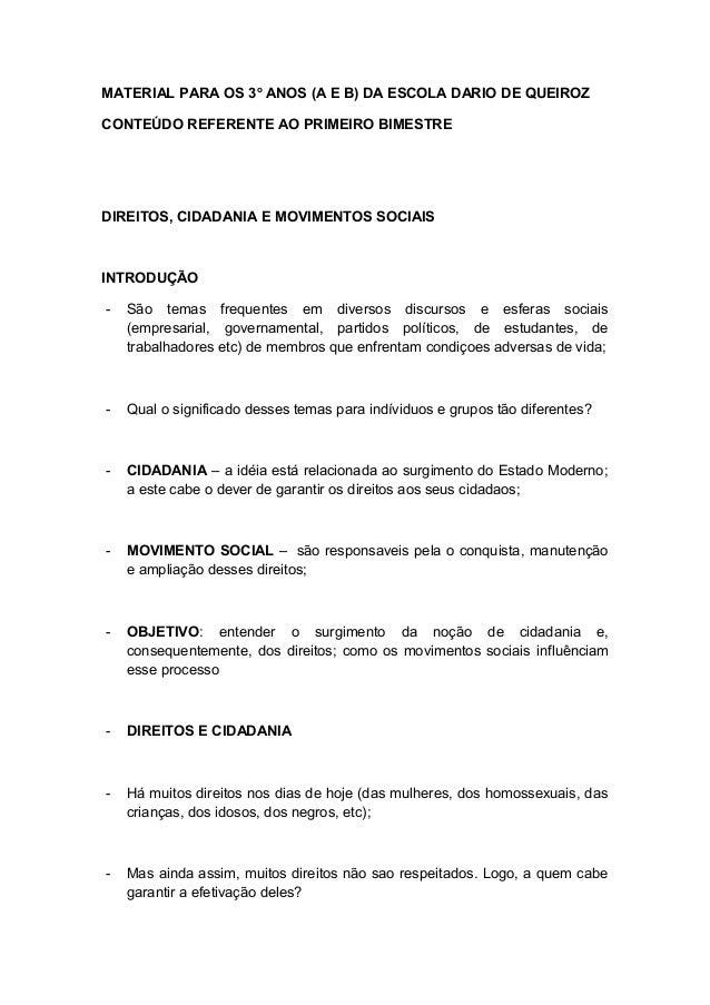 MATERIAL PARA OS 3o ANOS (A E B) DA ESCOLA DARIO DE QUEIROZCONTEÚDO REFERENTE AO PRIMEIRO BIMESTREDIREITOS, CIDADANIA E MO...