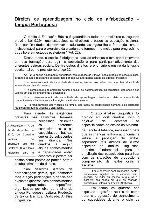 Direitos de aprendizagem no ciclo de alfabetização –  Língua Portuguesa  O direito à Educação Básica é garantido a todos o...