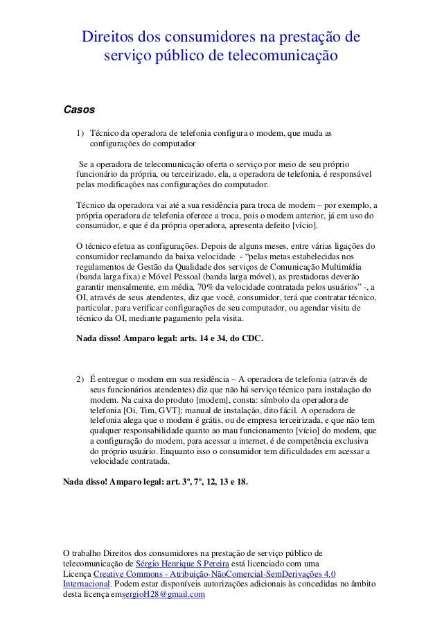 Direitos dos consumidores na prestação de  serviço público de telecomunicação  O trabalho Direitos dos consumidores na pre...