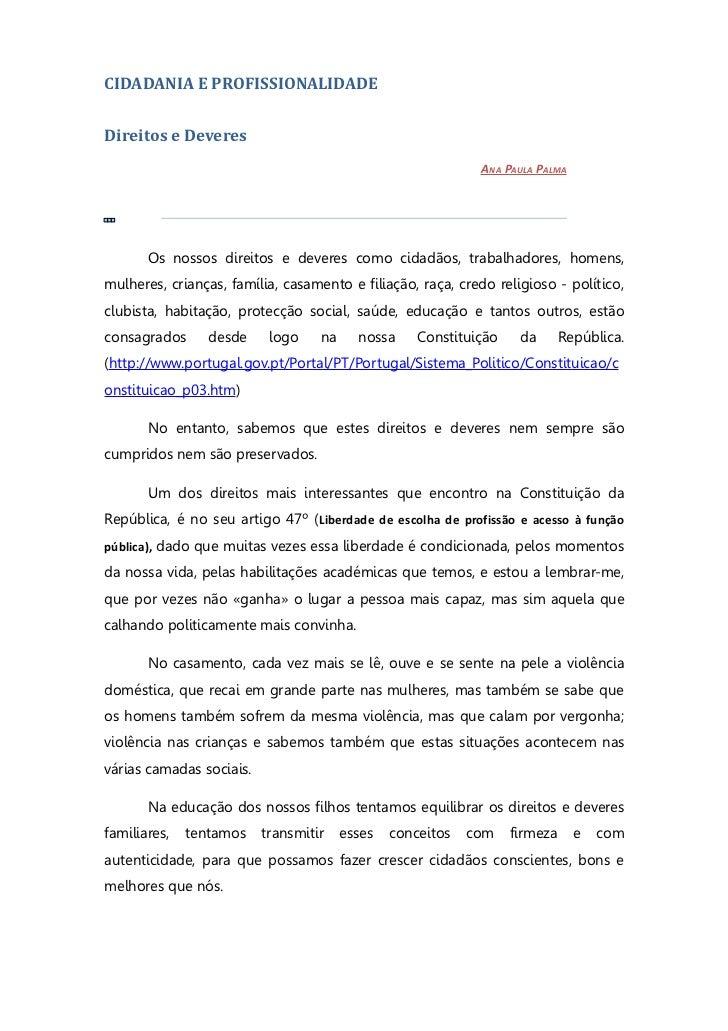 CIDADANIA E PROFISSIONALIDADE   Direitos e Deveres                                                              ANA PAULA ...