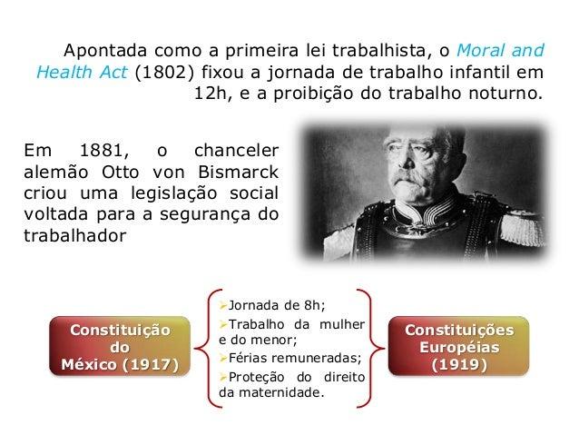 No Brasil, as primeiras normas trabalhistas surgiram a partir da última década do século XIX. Confederação Brasileira do...