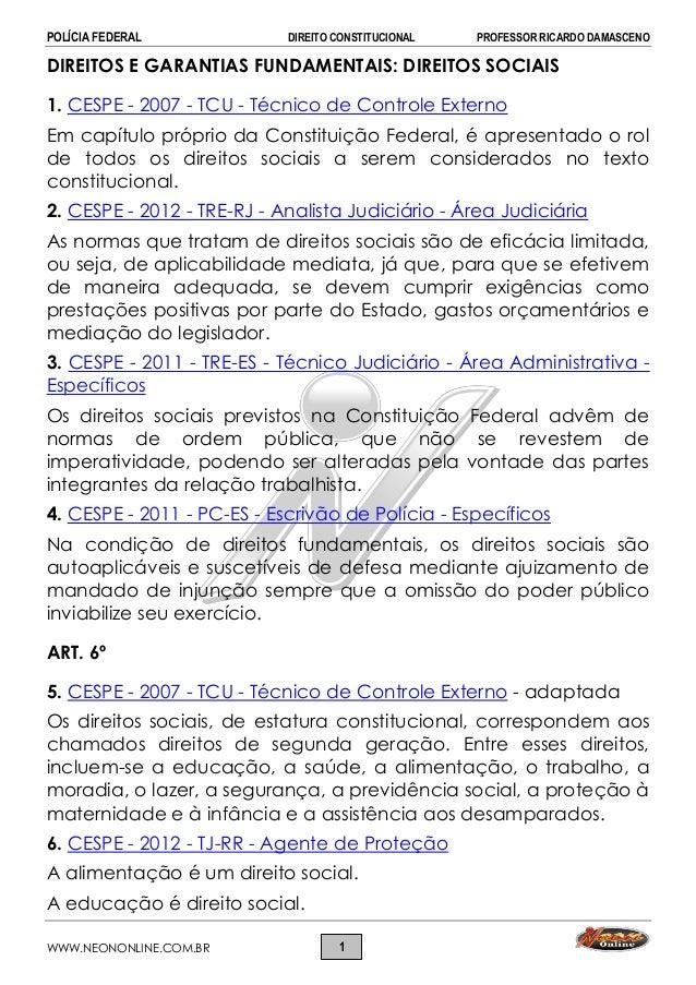 POLÍCIA FEDERAL DIREITO CONSTITUCIONAL PROFESSOR RICARDO DAMASCENO WWW.NEONONLINE.COM.BR 1 DIREITOS E GARANTIAS FUNDAMENTA...