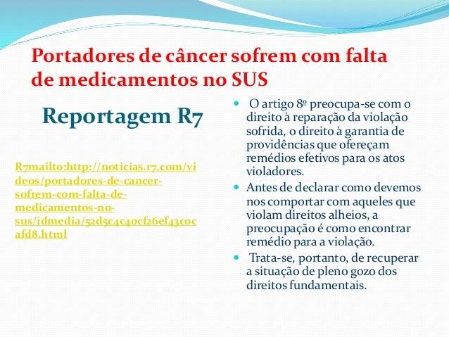 Portadores de câncer sofrem com falta de medicamentos no SUS  Reportagem R7 R7mailto:http://noticias.r7.com/vi deos/portad...