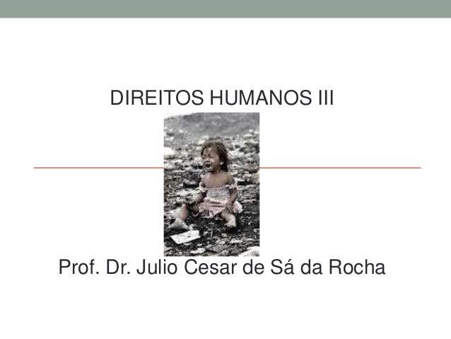 DIREITOS HUMANOS III  Prof. Dr. Julio Cesar de Sá da Rocha