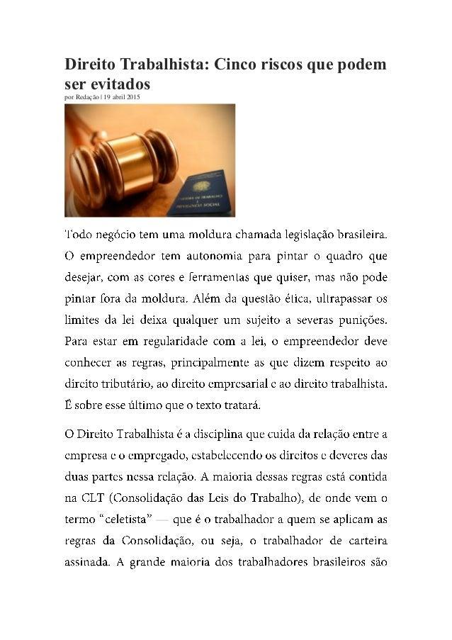 Direito Trabalhista: Cinco riscos que podem ser evitados por Redação | 19 abril 2015