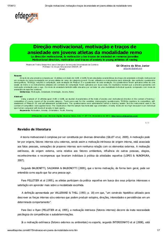 17/04/13 Direção motivacional, motivação e traços de ansiedade em jovens atletas da modalidade remowww.efdeportes.com/efd1...