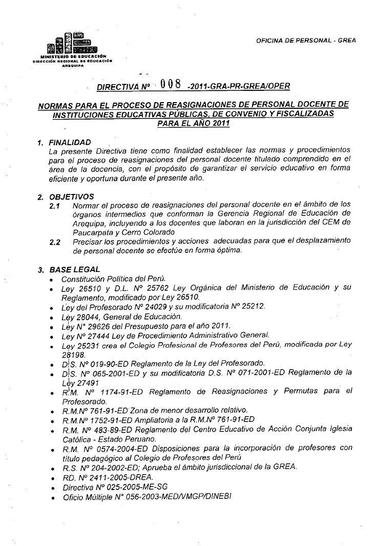 Direrctiva reasignaciones 2011