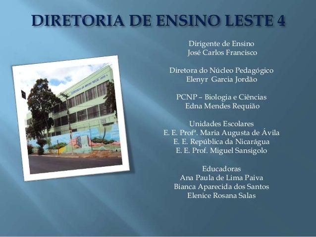 Dirigente de Ensino José Carlos Francisco Diretora do Núcleo Pedagógico Elenyr Garcia Jordão PCNP – Biologia e Ciências Ed...
