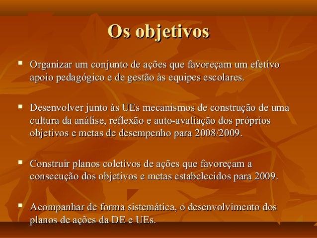 Os objetivosOs objetivos  Organizar um conjunto de ações que favoreçam um efetivoOrganizar um conjunto de ações que favor...
