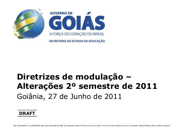 Diretrizes de modulação –    Alterações 2º semestre de 2011    Goiânia, 27 de Junho de 2011      DRAFTThis information is ...