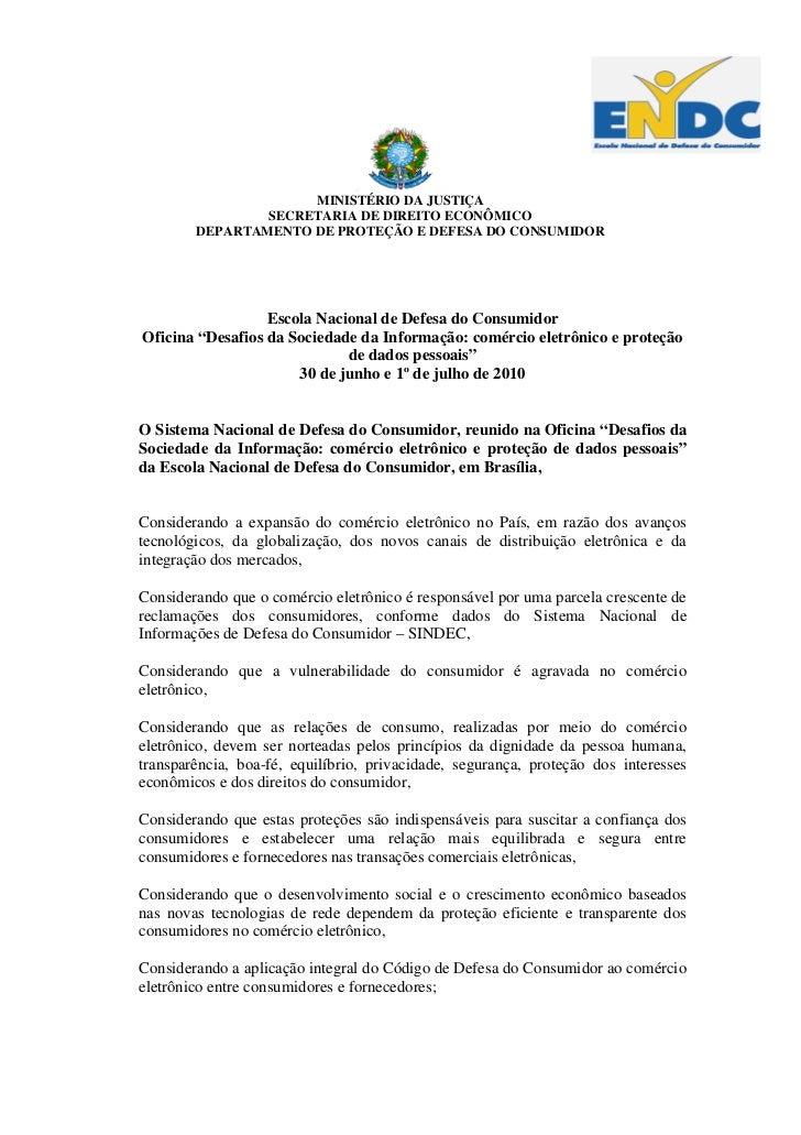 MINISTÉRIO DA JUSTIÇA                SECRETARIA DE DIREITO ECONÔMICO        DEPARTAMENTO DE PROTEÇÃO E DEFESA DO CONSUMIDO...