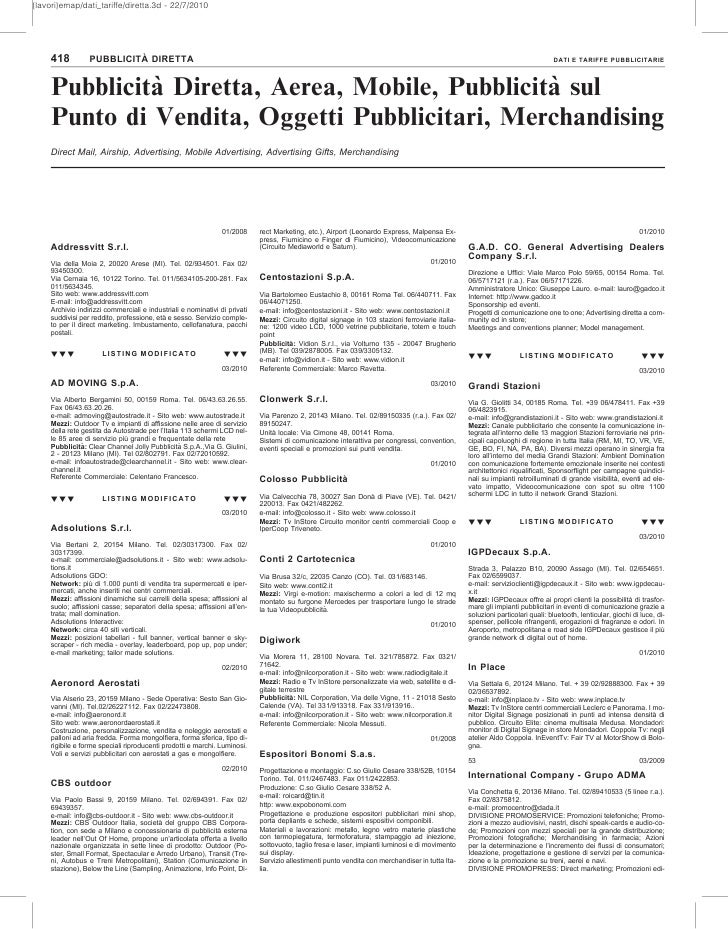 {lavori}emap/dati_tariffe/diretta.3d - 22/7/2010         418                   `                  PUBBLICITA DIRETTA      ...