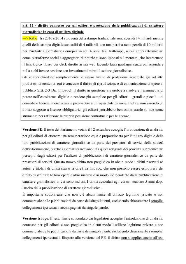 art. 11 - diritto connesso per gli editori e protezione delle pubblicazioni di carattere giornalistico in caso di utilizzo...