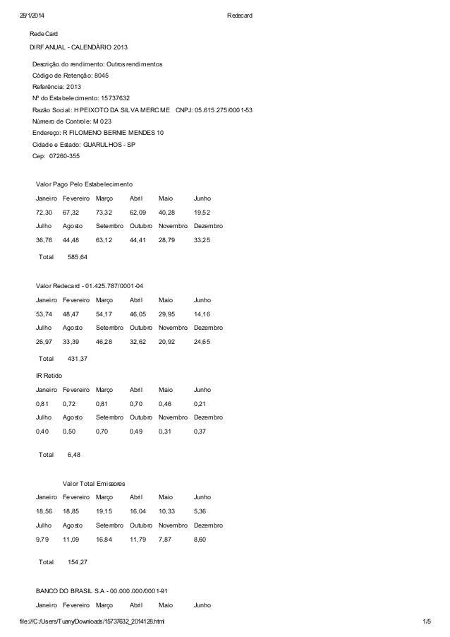 28/1/2014  Redecard  RedeCard DIRF ANUAL - CALENDÁRIO 2013 Descrição do rendimento: Outros rendimentos Código de Retenção:...