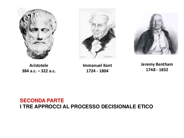 SECONDA PARTE I TRE APPROCCI AL PROCESSO DECISIONALE ETICO Aristotele 384 a.c. – 322 a.c. Immanuel Kant 1724 - 1804 Jeremy...