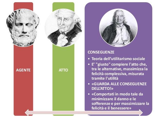 """AGENTE ATTO CONSEGUENZE • Teoria dell'utilitarismo sociale • E' """"giusto"""" compiere l'atto che, tra le alternative, massimiz..."""