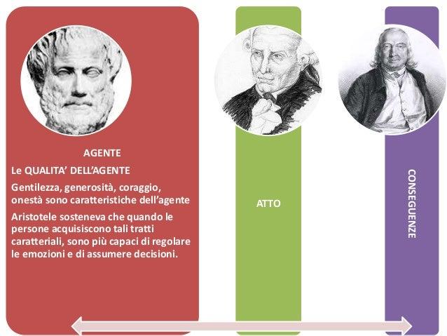 AGENTE Le QUALITA' DELL'AGENTE Gentilezza, generosità, coraggio, onestà sono caratteristiche dell'agente Aristotele sosten...