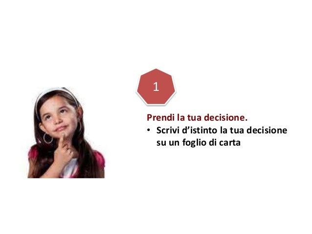 Prendi la tua decisione. • Scrivi d'istinto la tua decisione su un foglio di carta 1