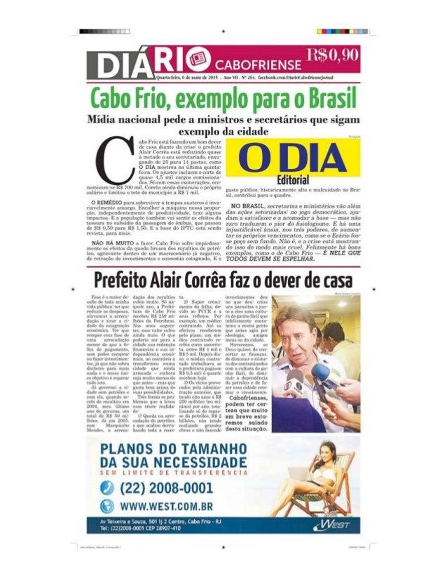 Cabo Frio,  exemplo para o Brasil  Mídia nacional pede a ministros e secretários que sigam     : ibu Fflllfhl . izi-ndu um...