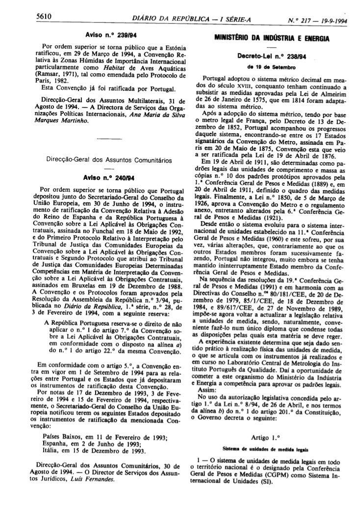 Diário da República - Unidades do Sistema Internacional