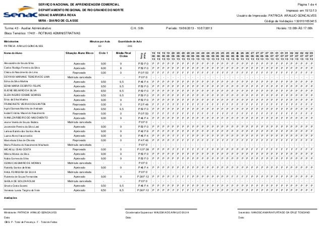 SERVIÇO NACIONAL DE APRENDIZAGEM COMERCIAL  Página 1 de 4  DEPARTAMENTO REGIONAL DE RIO GRANDE DO NORTE  Impresso em 15/12...