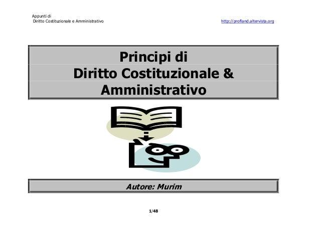 Appunti diDiritto Costituzionale e Amministrativo                   http://profland.altervista.org                        ...