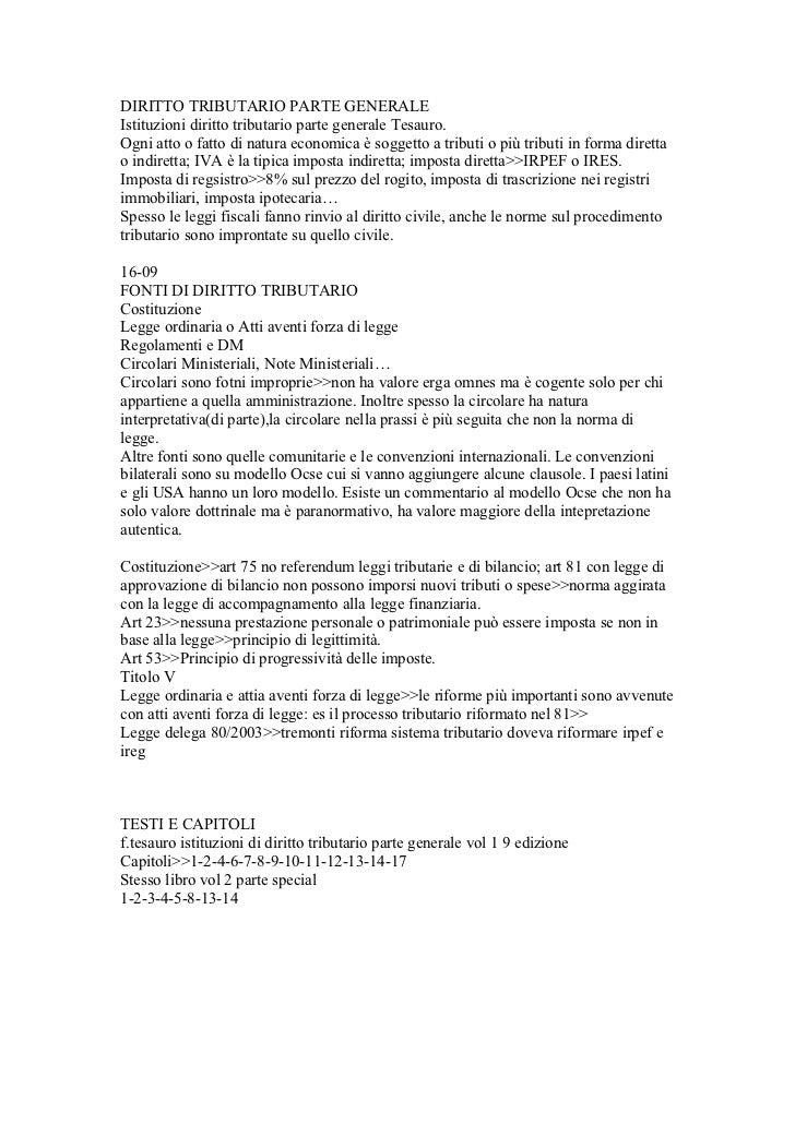 DIRITTO TRIBUTARIO PARTE GENERALEIstituzioni diritto tributario parte generale Tesauro.Ogni atto o fatto di natura economi...