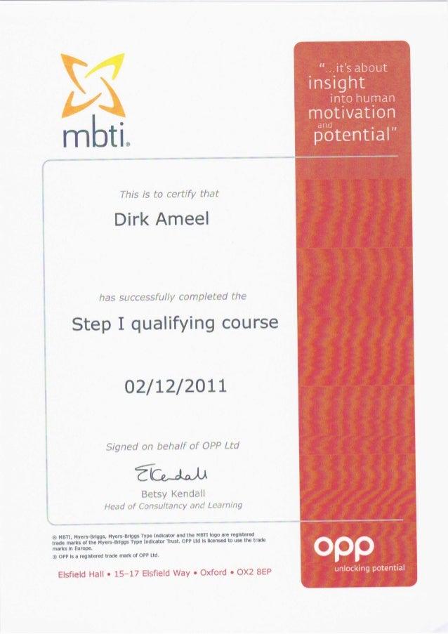 Dirk ameel MBTI step I & II
