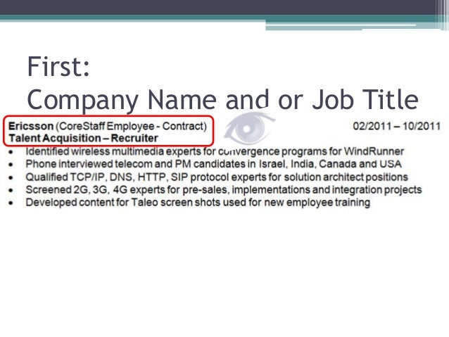 First: Company Name And Or Job Title ...  Resume Job Titles