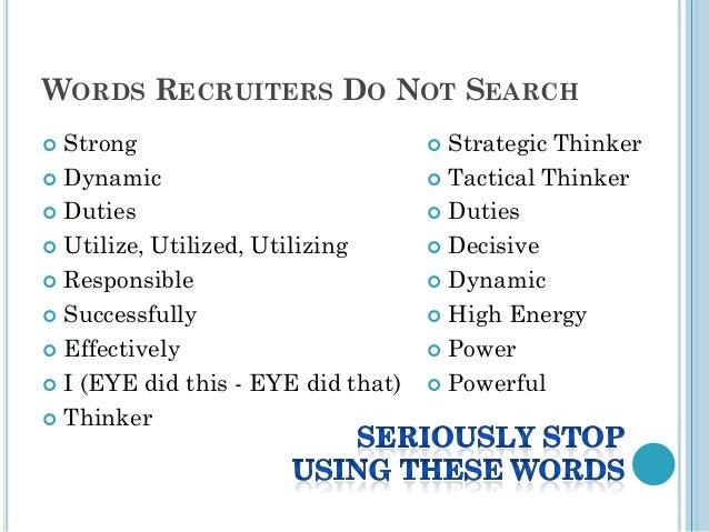 WORDS RECRUITERS ...