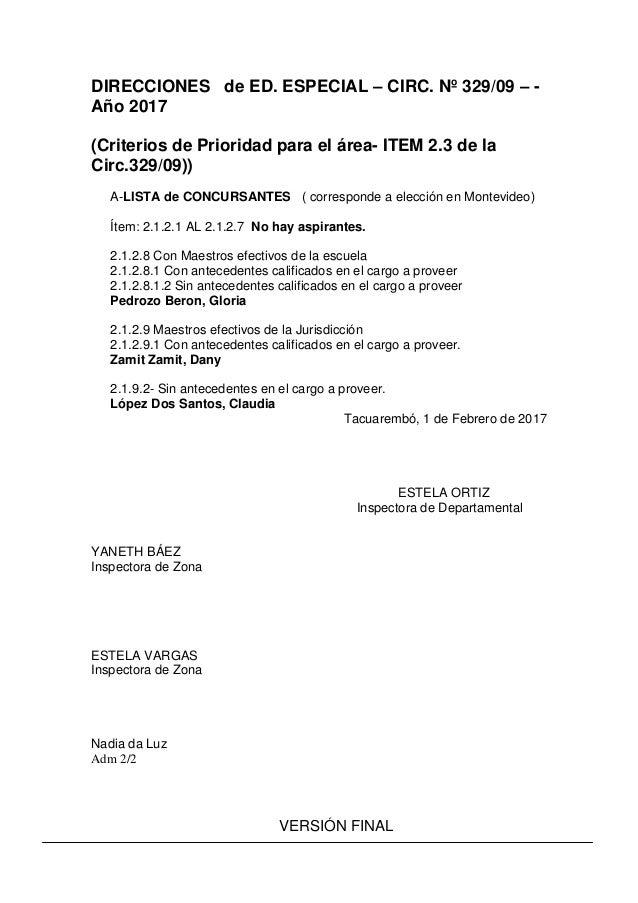 DIRECCIONES de ED. ESPECIAL – CIRC. Nº 329/09 – - Año 2017 (Criterios de Prioridad para el área- ITEM 2.3 de la Circ.329/0...