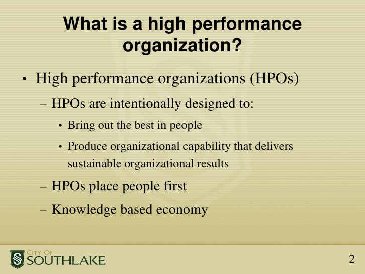 High Performance Organization (HPO) Framework