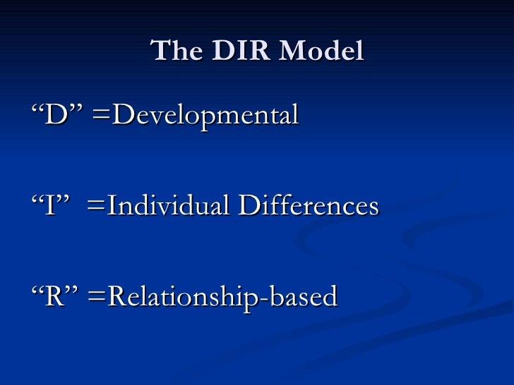 """The DIR Model <ul><li>"""" D"""" =Developmental </li></ul><ul><li>"""" I""""  =Individual Differences </li></ul><ul><li>"""" R"""" =Relation..."""