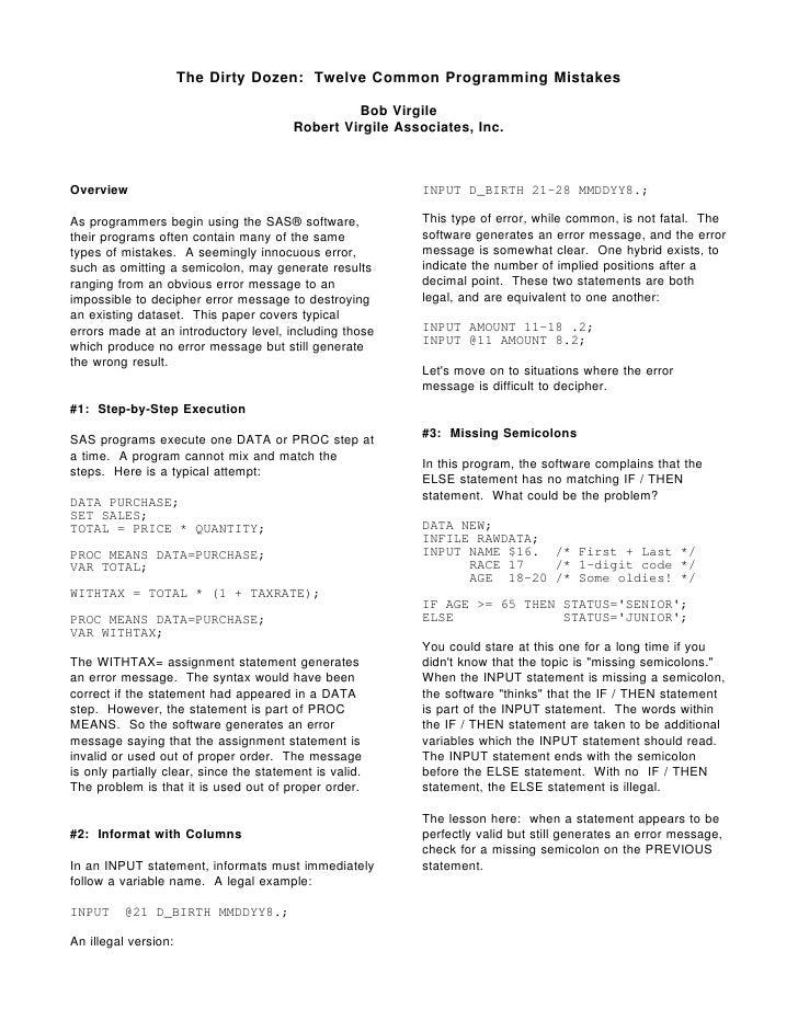 The Dirty Dozen: Twelve Common Programming Mistakes                                                    Bob Virgile        ...