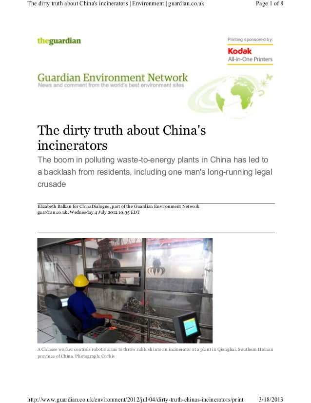 The dirty truth about Chinas incinerators | Environment | guardian.co.uk                                     Page 1 of 8  ...