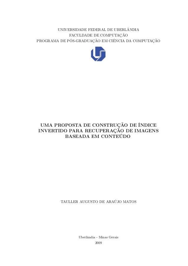 UNIVERSIDADE FEDERAL DE UBERLÂNDIA FACULDADE DE COMPUTAÇÃO PROGRAMA DE PÓS-GRADUAÇÃO EM CIÊNCIA DA COMPUTAÇÃO UMA PROPOSTA...