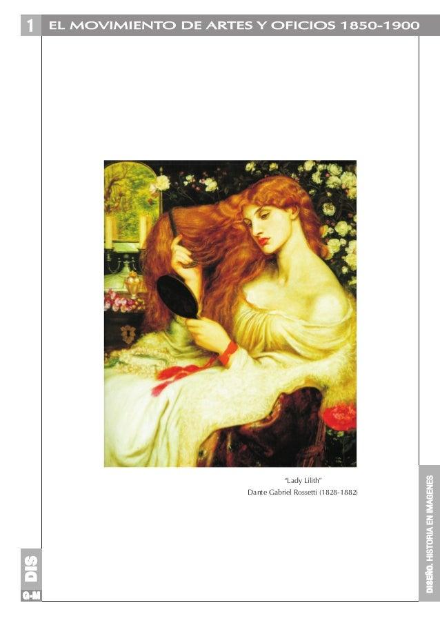 """EL MOVIMIENTO DE ARTES Y OFICIOS 1850-1900  """"Lady Lilith""""  DIS  Dante Gabriel Rossetti (1828-1882)  G-M  DISEÑO. HISTORIA ..."""