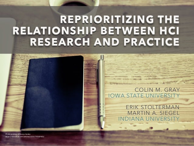 REPRIORITIZING THE RELATIONSHIP BETWEEN HCI RESEARCH AND PRACTICE COLIN M. GRAY IOWA STATE UNIVERSITY ! ERIK STOLTERMAN MA...