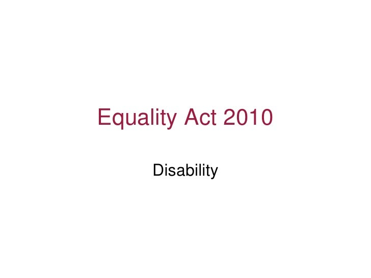 Equality Act 2010 Disability
