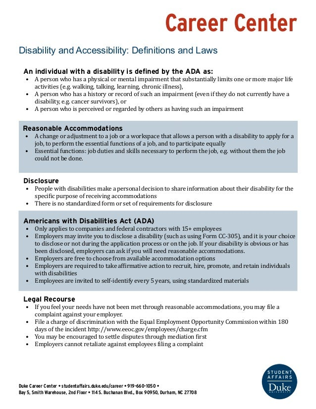 Career Center Disability and Accessibility: Definitions and Laws Duke Career Center • studentaffairs.duke.edu/career • 919...